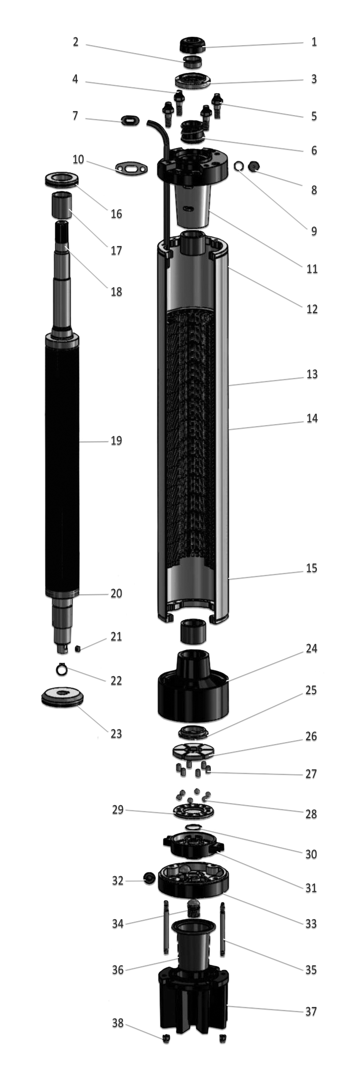 Despiece motor sumergible de pozo